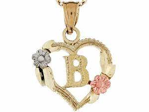 three tone real gold heart roses letter b initial charm With real gold letter pendants