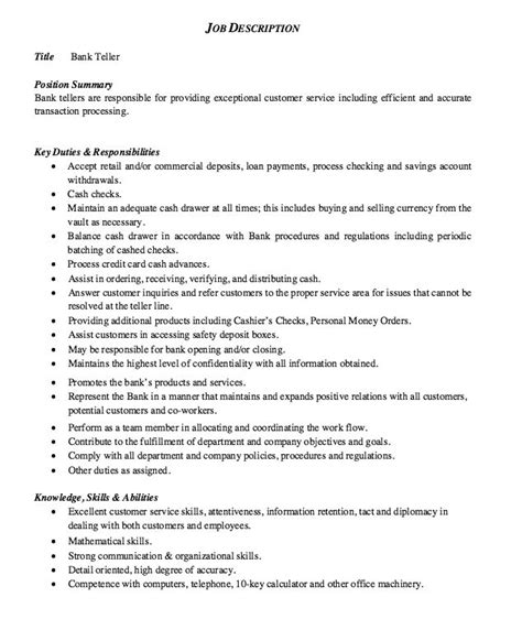 Teller Resume Description by Description Bank Teller Http Exleresumecv Org