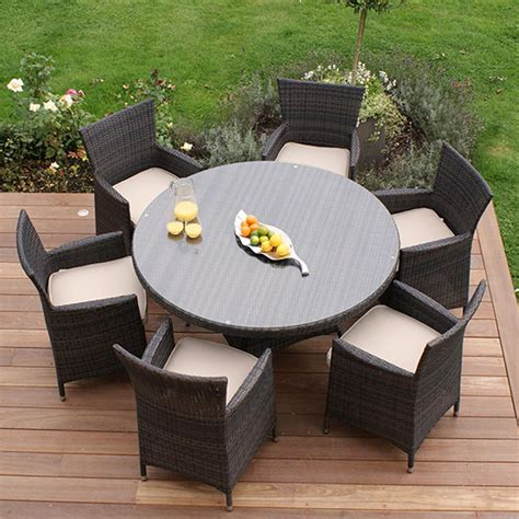 maze rattan miami 6 seat garden furniture set