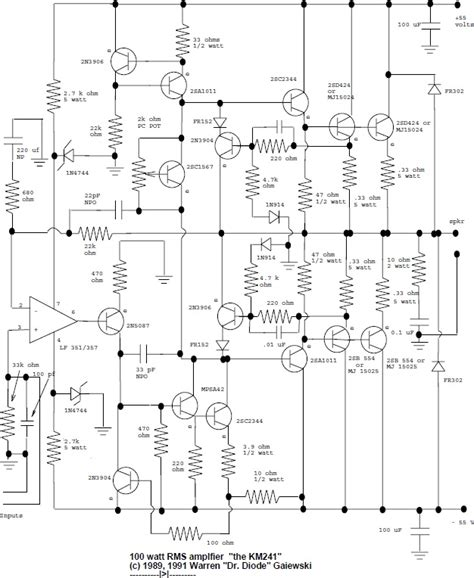 Rms Audio Amplifier Electronic Schematic Diagram