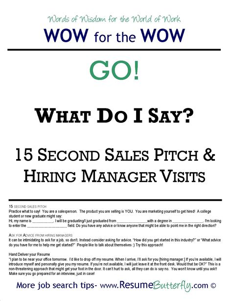 Elevator Pitch Resumen by Wow For The Wow Search Skills Resume Butterfly Go 15 Second Sales Pitch Resume