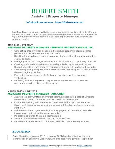 Resume Format For Assistant Manager by Assistant Property Manager Resume Sles Qwikresume