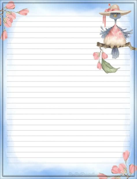 blue bird lined stationery writing paper note paper