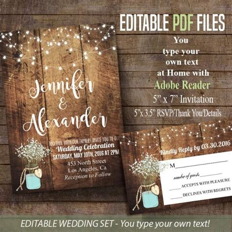 printable wedding invitation rustic barn wedding editable