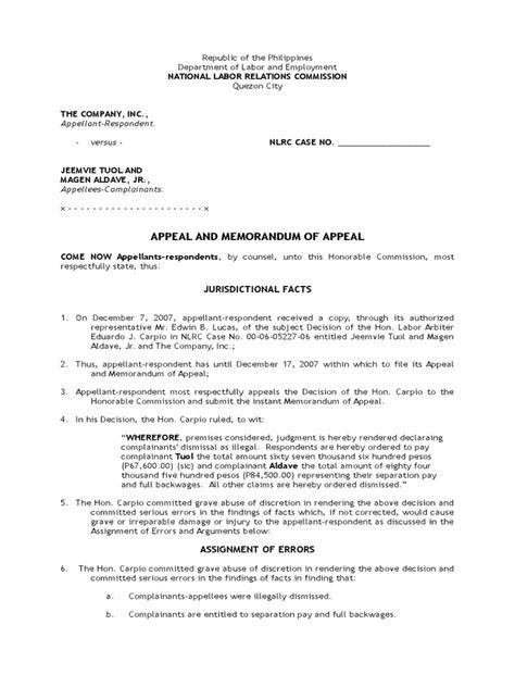 nlrc memorandum  appeal legal concepts public law