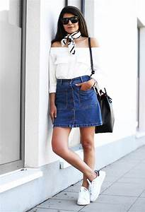 Outfit   Button Front Skirt + Off the Shoulder Top + Stan Smith + Bandana