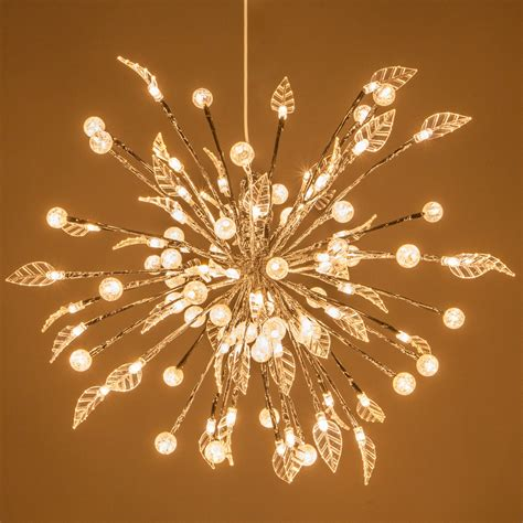 silver starburst lighted branches  warm white led
