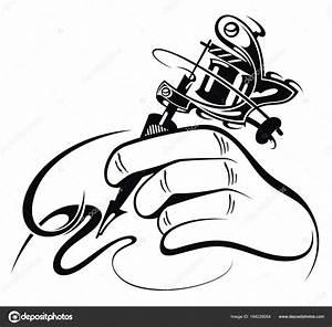 Black White Design Hand Manual Tattoo Machine  U2014 Stock