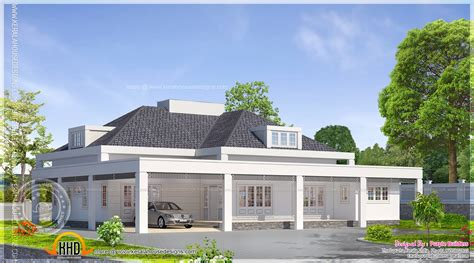 Single Floor European Model House Indian Plans - Home