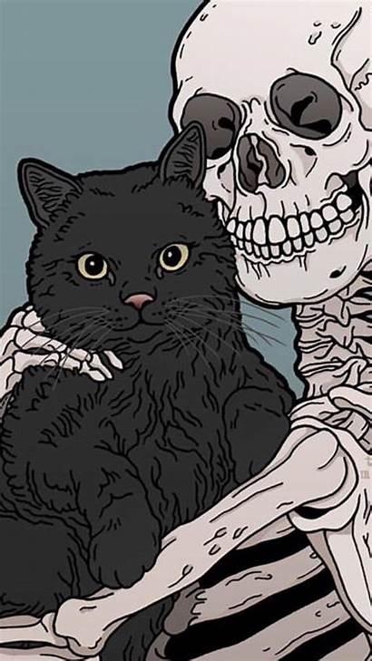Aesthetic Cat Halloween Iphone Wallpapers Skull Cats