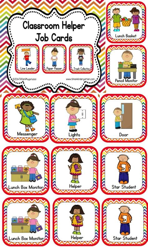 preschool helper jobs classroom helper and cards rainbow chevron chang e 3 635