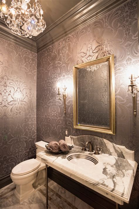 bathroom wallpaper border ideas bright torchiere in powder room with painted