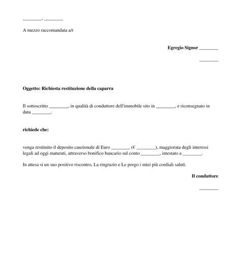 contratto di affitto box auto richiesta di restituzione della caparra modello