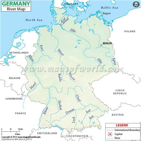 germany river map showing  lake  river routes