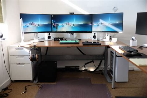 ikea gaming computer desk setup with drawer also triple monitors and white pc case battle
