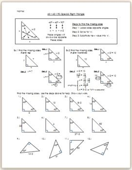 454590 Special Right Triangle  Practicehw By Eric Douce Tpt