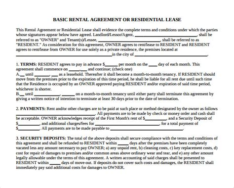 12 Month To Month Rental Agreement Form Templates To