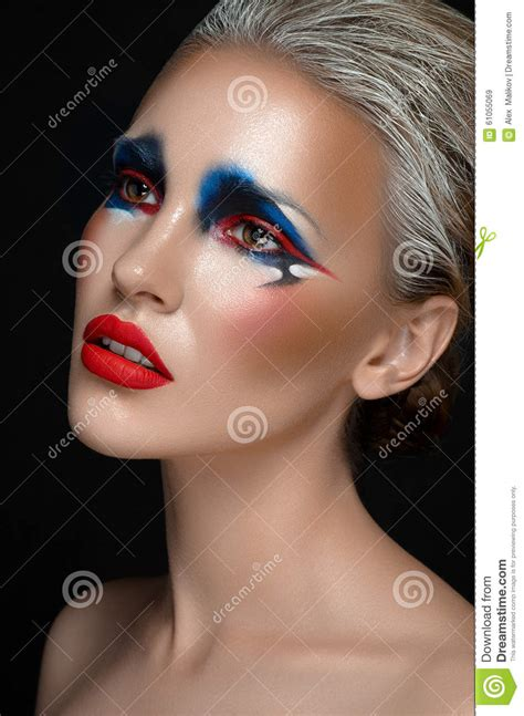 Makeup Art Theme Beautiful Girl With Blue And Red Make Up