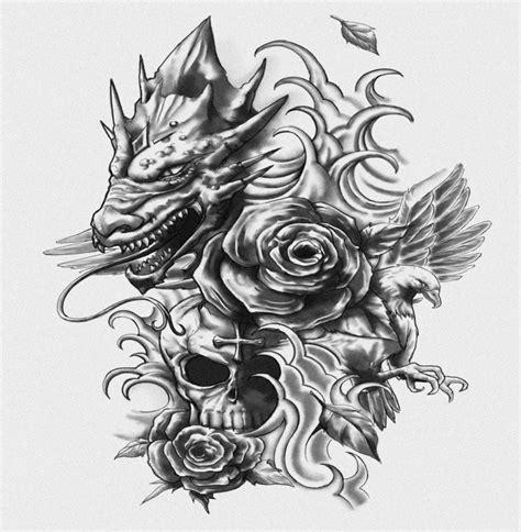 grey dragon head  flying dove  skull  rose bud tattoo design tattooimagesbiz