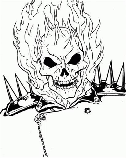 Ghost Rider Coloring Pages Ghostrider Burning Face