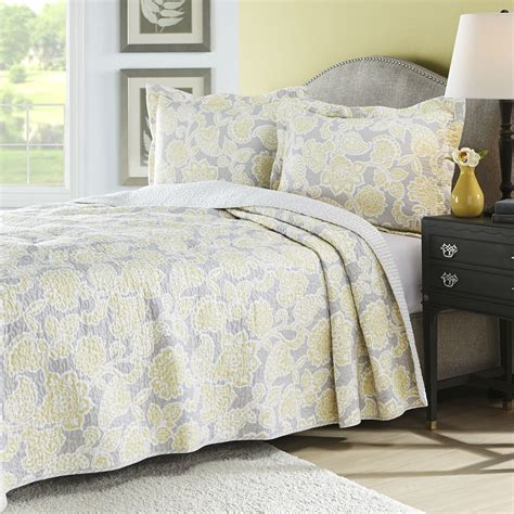 Yellow Quilted Coverlet by King Yellow Gray Floral 100 Cotton Reversible Quilt