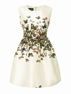 sweet floral print crewneck sleeveless satin shaping woman With robe motif papillon