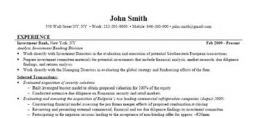 investment banking resume exle street of walls
