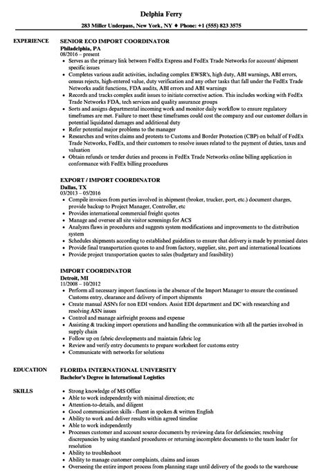 Import Resume Into Template by Import Coordinator Resume Sles Velvet