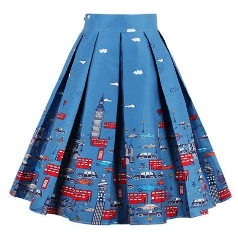 high waisted skirt blue vintage print high waisted flared pleated skirt