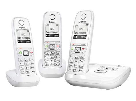 telephone interieur sans fil t 233 l 233 phone fixe sans fil trio avec r 233 pondeur gigaset as405a trio rep blanc chez conforama