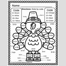 Color By Numbers Thanksgiving Math Addition Facts Math