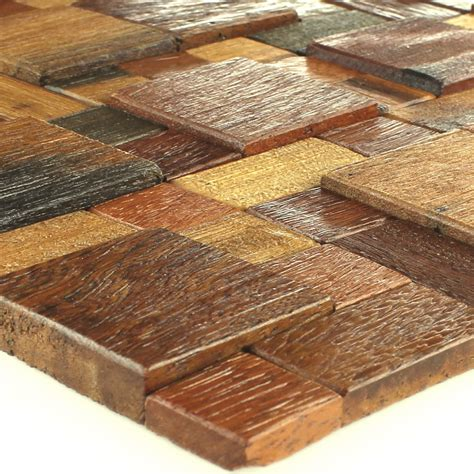 Holz Mosaik Fliesen by Wood Mosaic Tiles Real Brown Mix Lacquered