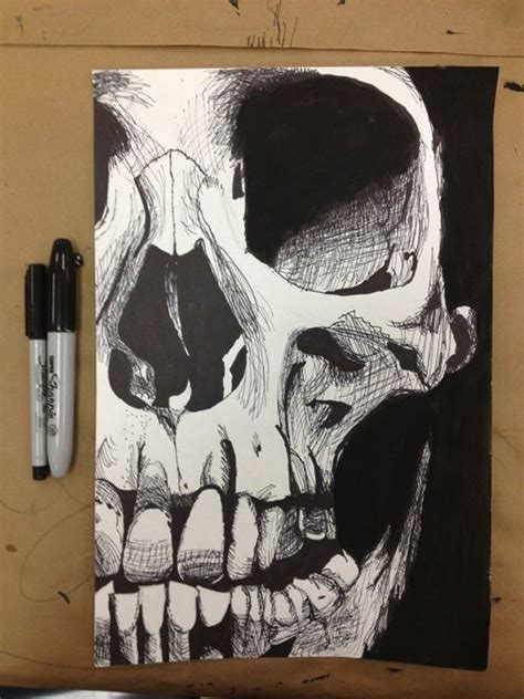 Drawing Cool Awesome Pencil Skull Morbid Ink Sketch