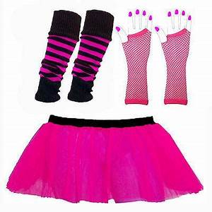NEON TUTU SKIRTS UV LEG WARMERS GLOVES BEADS 1980S FANCY