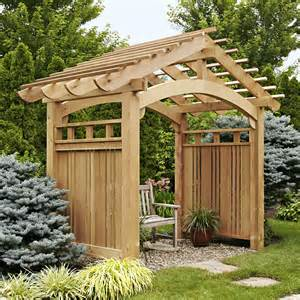 patio arbor arching garden arbor woodworking plan from wood magazine