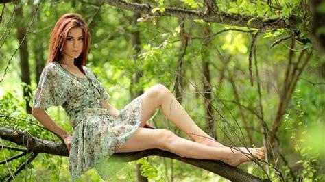 beautiful girl green forest dress preview wallpapercom