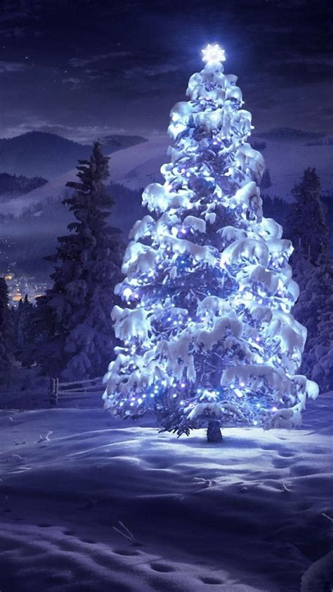 christmas tree snow blue lights android wallpaper
