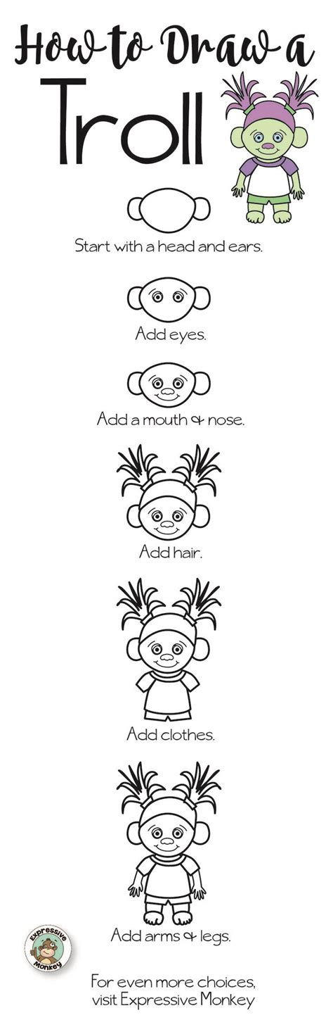 troll directed drawing with choices expressive monkey