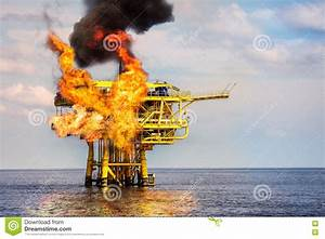 Offshore Oil And Gas Fire Case Or Emergency Case  Firefighter Operation To Control Fire On Oil