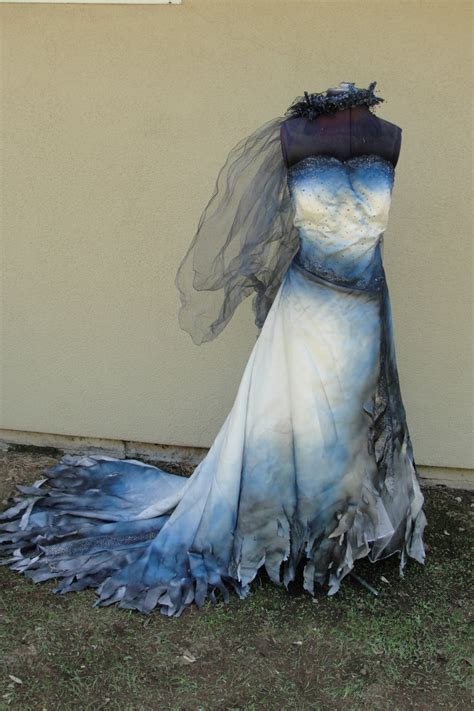 hand dyed  painted corpse bride wedding gown labled