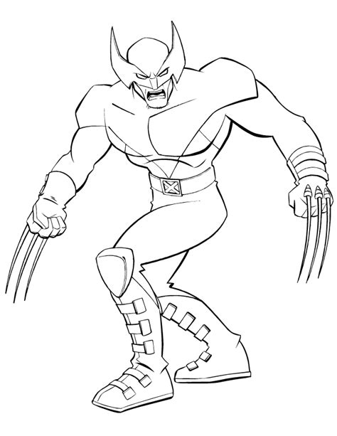 superhero  men wolverine coloring page