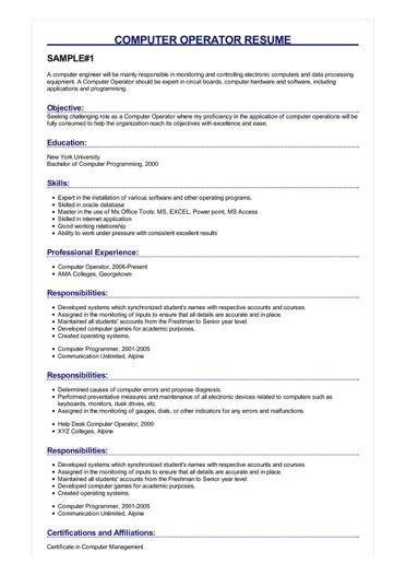sample computer operator resume