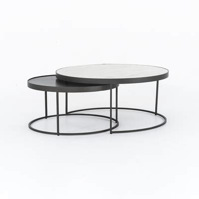 Coffee tables with overlapping circles are fun and practical places to place flower vases magazines and coasters. Four Hands Evelyn Round Nesting Coffee Table - Gunmetal ...