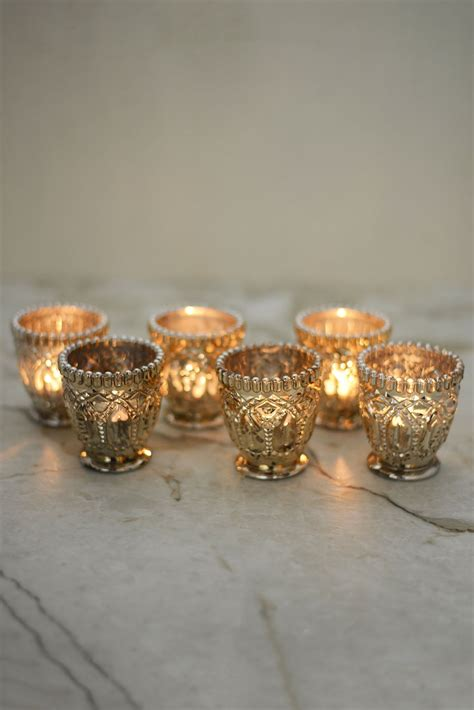 Candele Votive by 6 Mercury Glass Votive Candle Holders Event Lighting