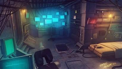 Cyberpunk Concept Interior Tech Artstation Low Tariq