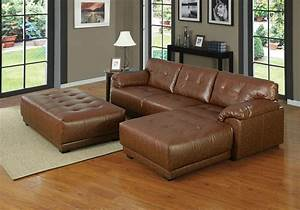 Orian brown bonded leather match sectional sofa for Leather sectional sofa new york