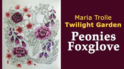 Colouring 'twilight Garden / Blomstermandala' Peonies And