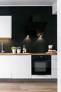 cuisine blanche et noir peinture satin With kitchen cabinet trends 2018 combined with papiers peints à peindre