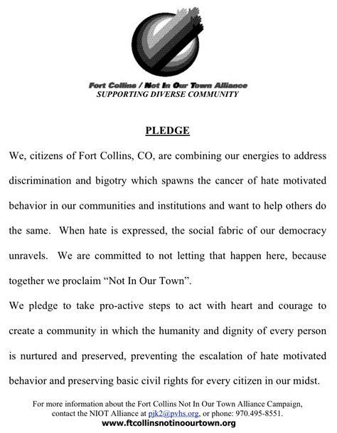 sample pledges    town