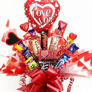 Valentine's chocolate bar bouquet with I love you balloon.